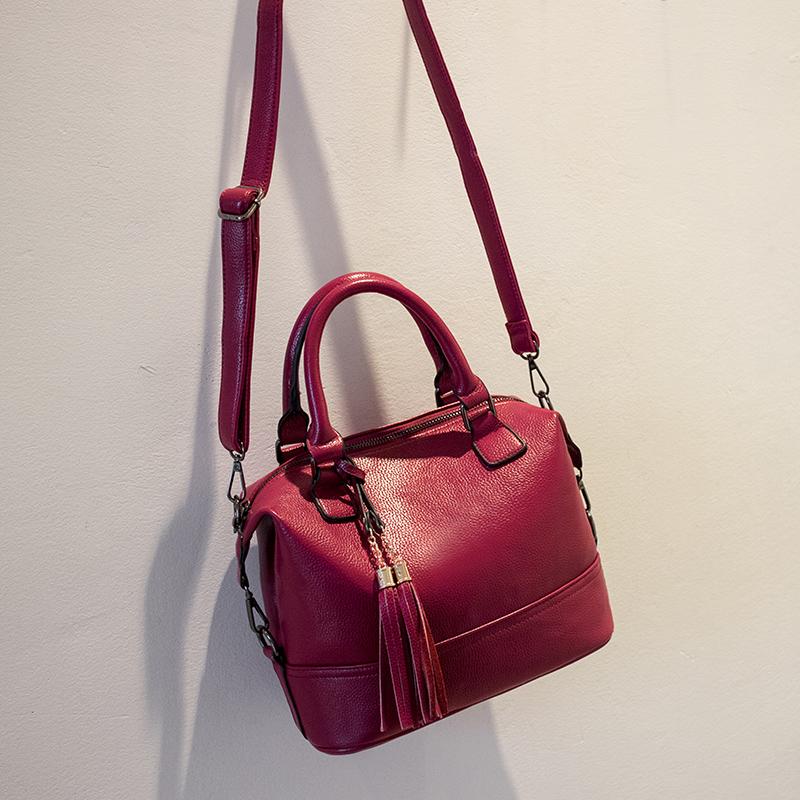 2016 Women Genuine Leather Handbags Tassel Women leather handbags Bolsa Femininas Designer Handbags High Quality Women's Handbag(China (Mainland))