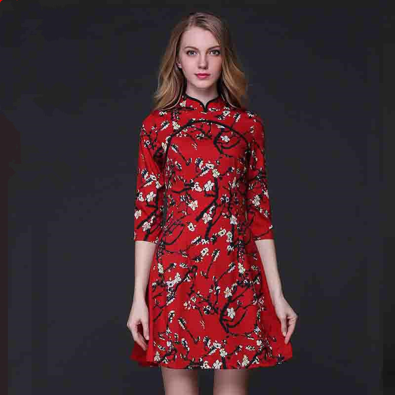 women summer dress Chinese style vintage cheongsam 2016 new style hot sale flowers print red dresses vestidos de festa clothing(China (Mainland))