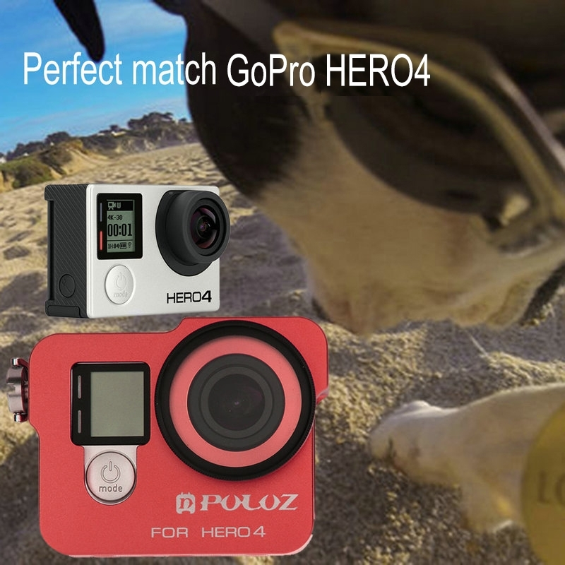 PULUZ Go Pro Accessories Housing Shell  Aluminum Alloy Protective Case Cage W/ UV Lens Filter & Lens Cap for GoPro HERO4 HERO 4