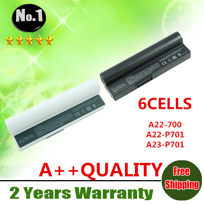 Wholesale New 6cells laptop battery FOR Asus Eee PC 701 2G 4G 8G 700 900 A22-700 A22-P701 A23-P701 P22-900 free shipping(China (Mainland))