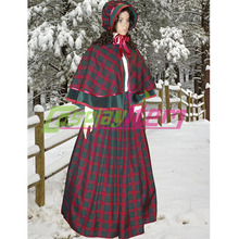Customized Ladies Victorian tartan & velvet winter christmas costume fancy dress with hat