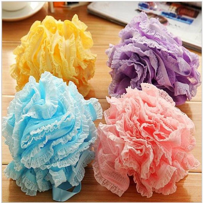 2Pcs/Lot Nylon Body Wash Scrubber Bath Shower Ball Large Bath Sponge Exfoliate Towel Ball Diameter 18cm Bath Flower Mesh Bath(China (Mainland))