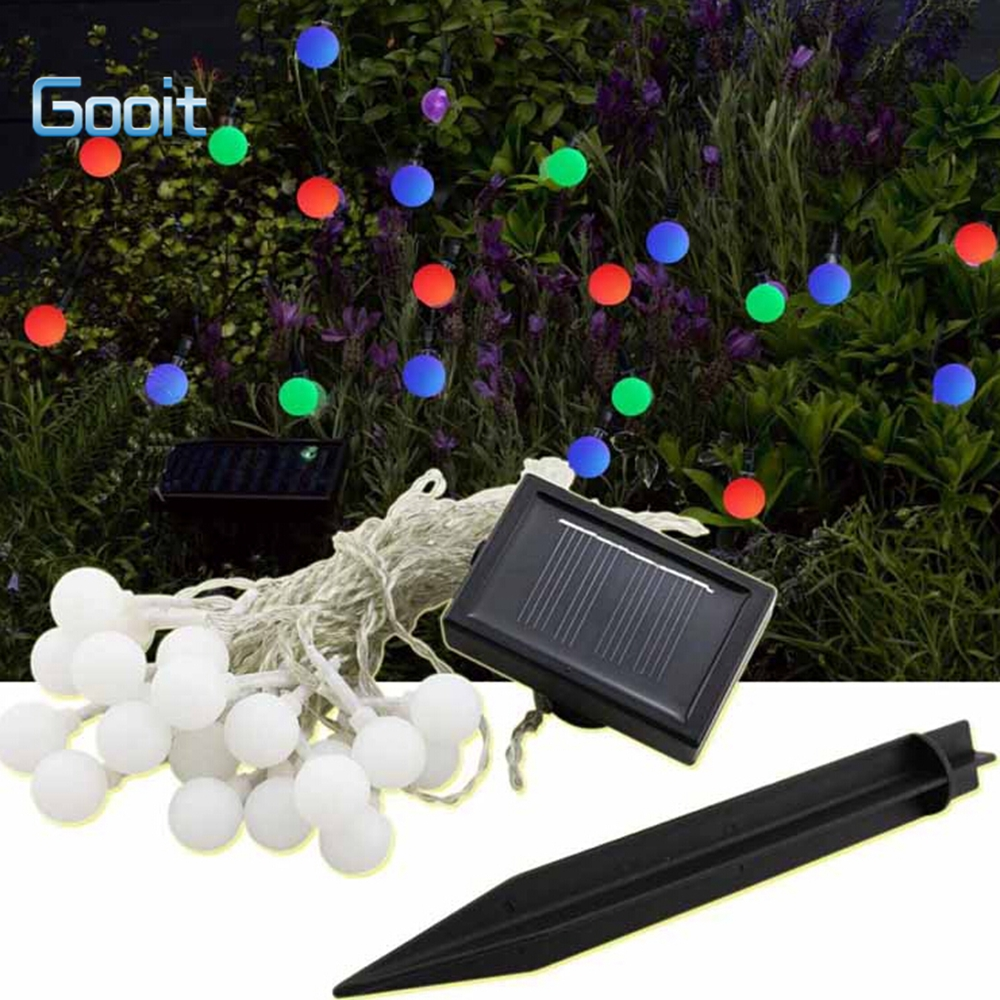 Led ball flower shape hanging solar powered garden string for Outdoor decorating with solar lights