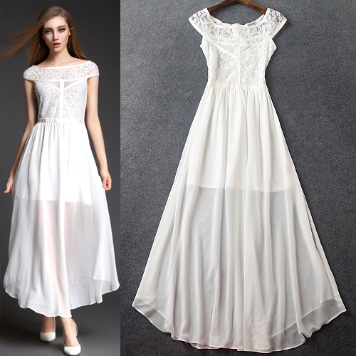 Summer 2015 runway dress women's high quality brand dresses fashion white/black lace casual long maxi dress(China (Mainland))