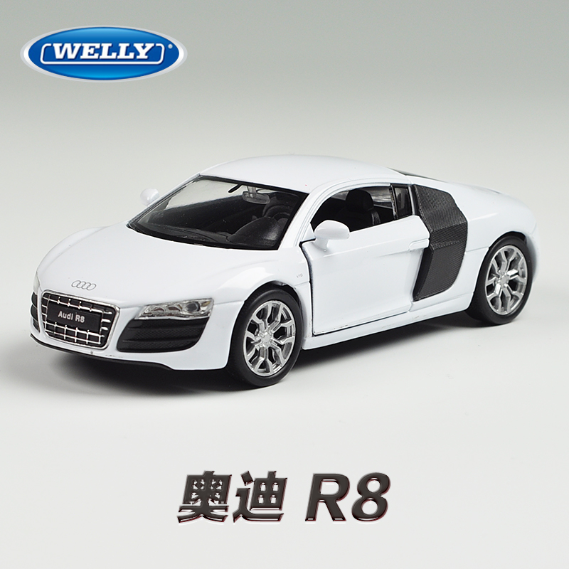 WELLY 1/36 Scale Supercar Model Toys AUDI R8 Diecast Metal Pull Back Car Toy New In Box For Gift/Collection/Children(China (Mainland))