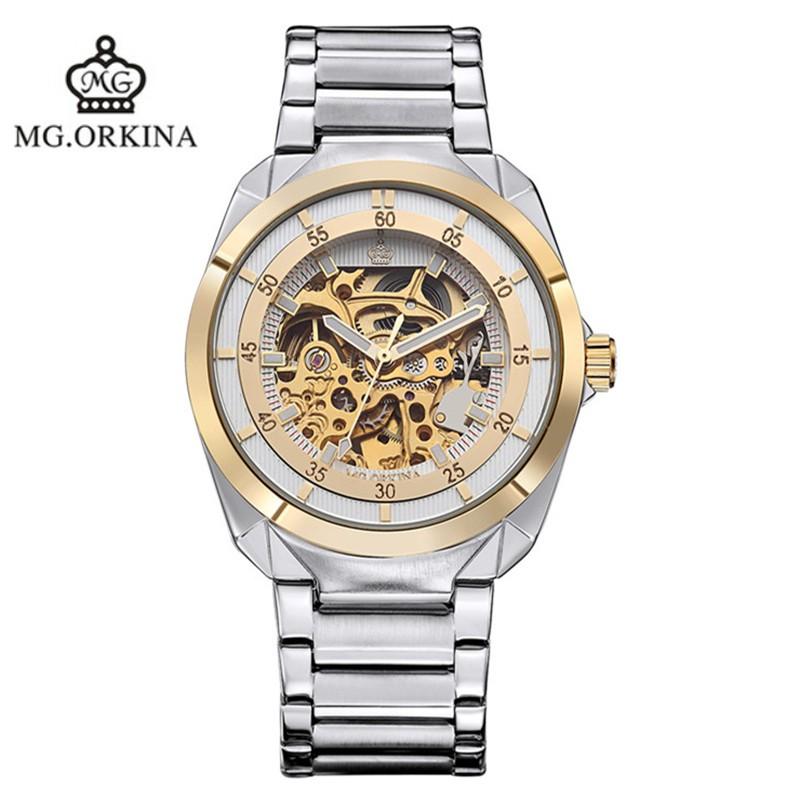2016 новые подлинные ORKINA полые киль из нержавеющей стали автоматические механические часы моды водонепроницаемый человек бренд класса люкс MG066