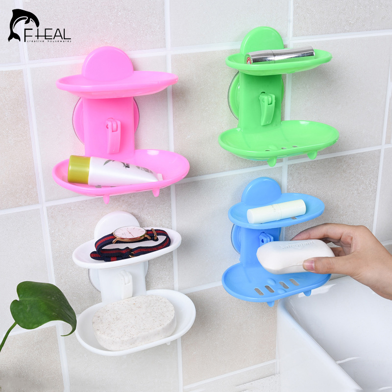 New Kitchen Tools Bathroom Accessories Soap Holder Two Layer Suction Holder Soap Dish Storage Basket Soap Box Stand Must Have(China (Mainland))