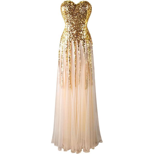 Angel-мода Новые Милая Золотые блестки сетки кружева Длинное Вечернее Платье