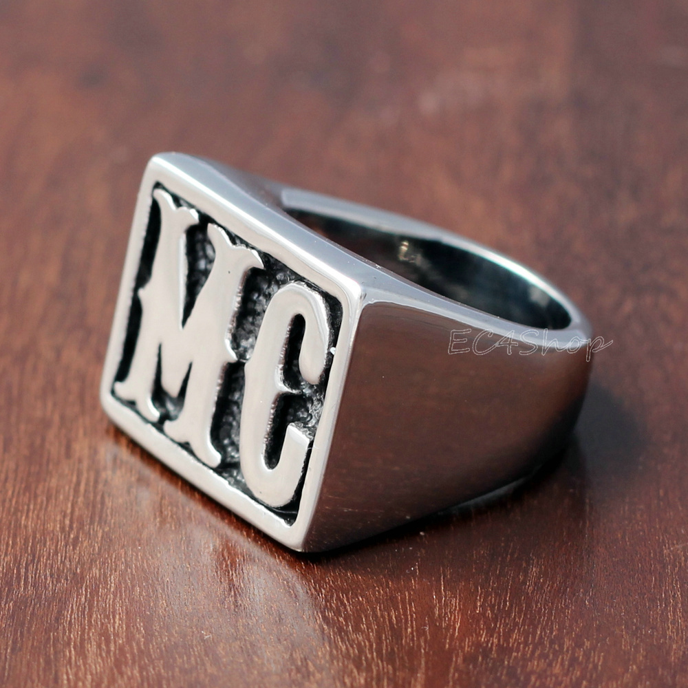 Men 39 s punk silver 316l stainless steel mc biker ring for for Cross country motor club phone number