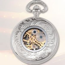 fashion watch New Vintage Silver Mechanical Mens Antique Pocket Watch(China (Mainland))