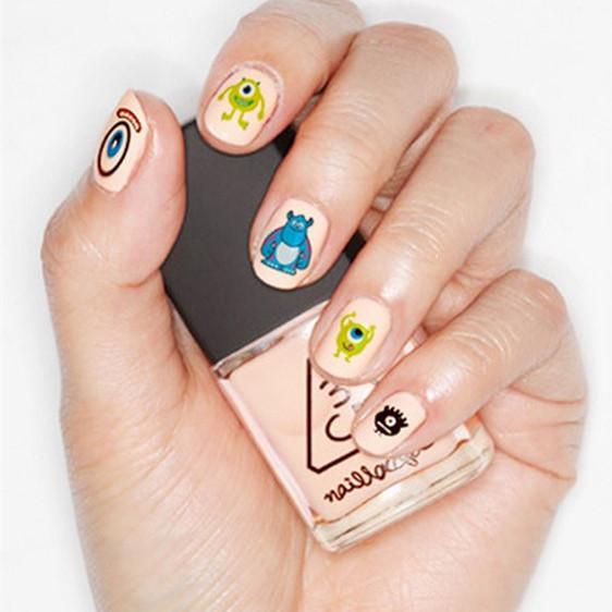 1sheet New Fashion 2015 nail art stickers Decals cartoon water transfer Harajuku strange hair wind Monsters University Popeyes(China (Mainland))