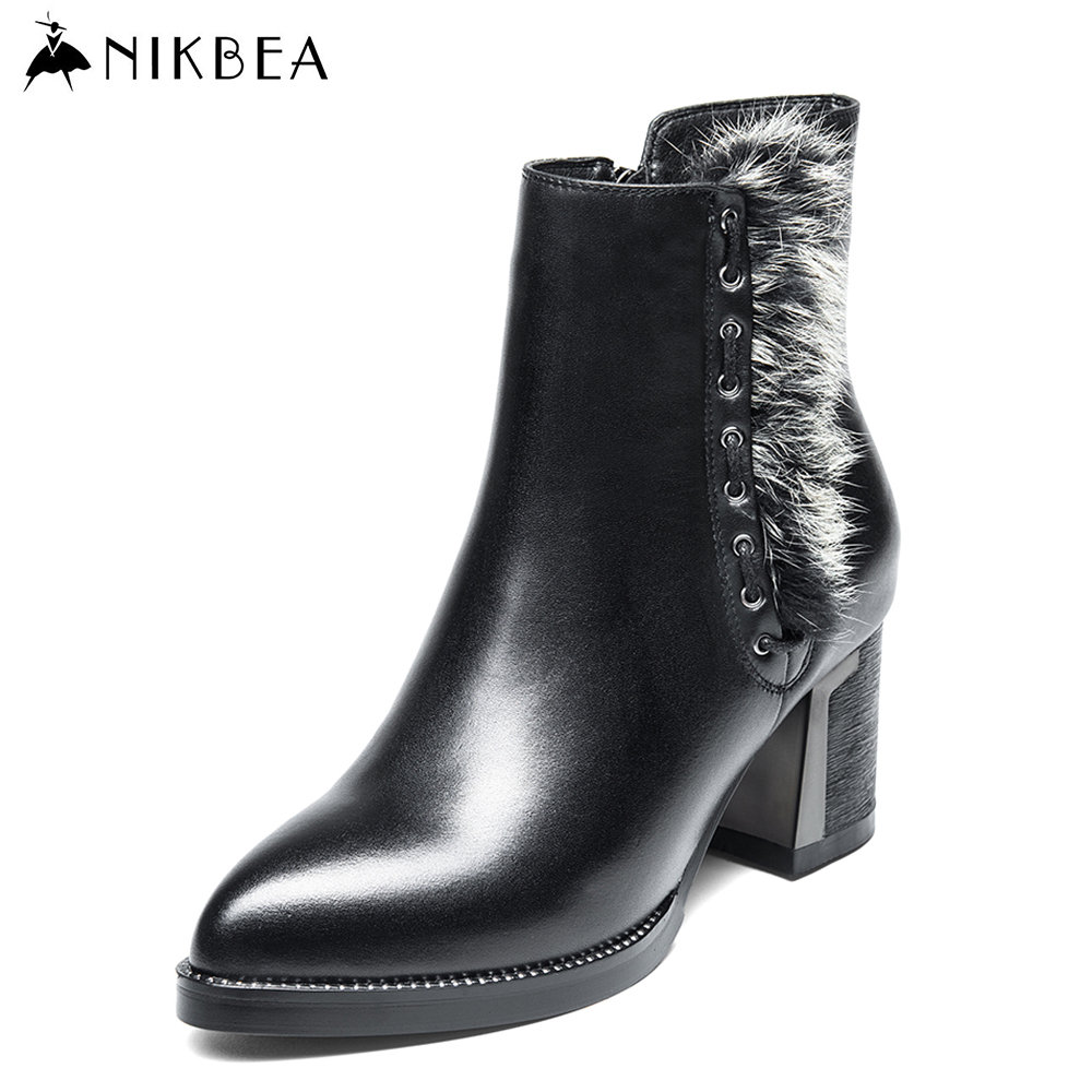 Nikbea Handmade Genuine Leather Large Size High Hee Ankle Boots for Women 2016 Autumn Winter Chunky Low Heel Botines Mujer(China (Mainland))