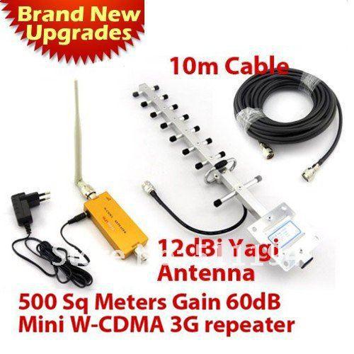 Здесь можно купить  500 square meter Work,3G Repeater 1SET 12 dbi yagi antenna + 10 meters cable + 2100Mhz 3G WCDMA Repeater UMTS Signal Booster  Телефоны и Телекоммуникации