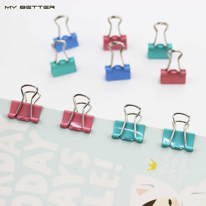 15mm Random Colored Metal Binder Clips for Notes Letter Paper Books Home Office School File Paper Organizer 15pcs(China (Mainland))