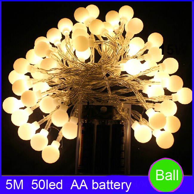 Гаджет  Free Shipping AA battery led string light cherry ball led light 5M 50led decoration light for home/party/wedding None Свет и освещение