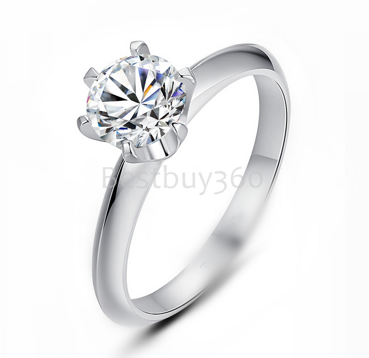 4 carat 6 prongs 925 sterling silver moissanite ring 18k white gold  ring female T home -made diamond ring US size from 4 to 12<br><br>Aliexpress