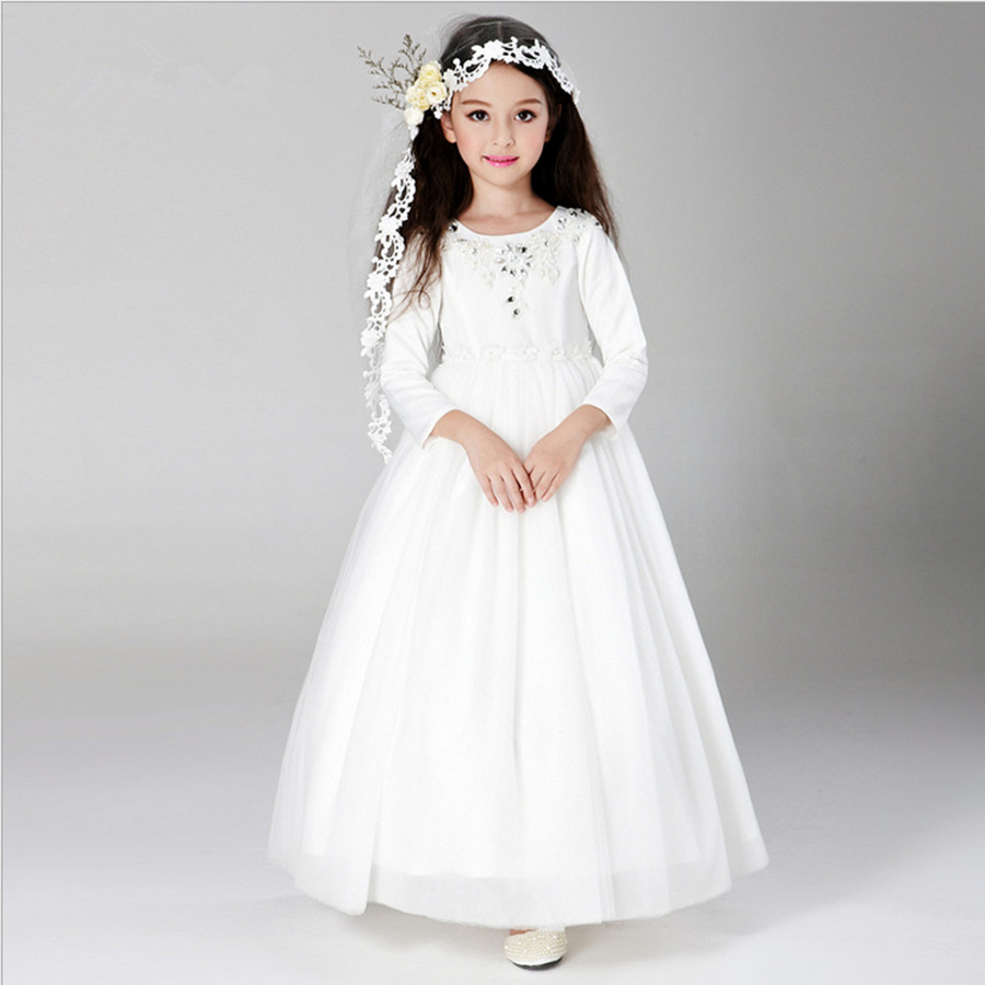 110-160 2015 Flower Girl Long Dress For Wedding Party For Autmn & Winter Fashion Princess Preside Performance clothing White(China (Mainland))