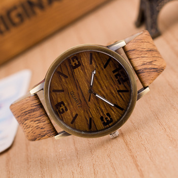 Wooden Color Leather Strap Watch