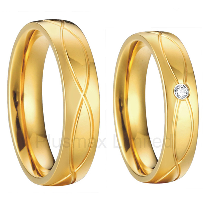 vintage mens and womens18k gold plated health titanium wedding bands