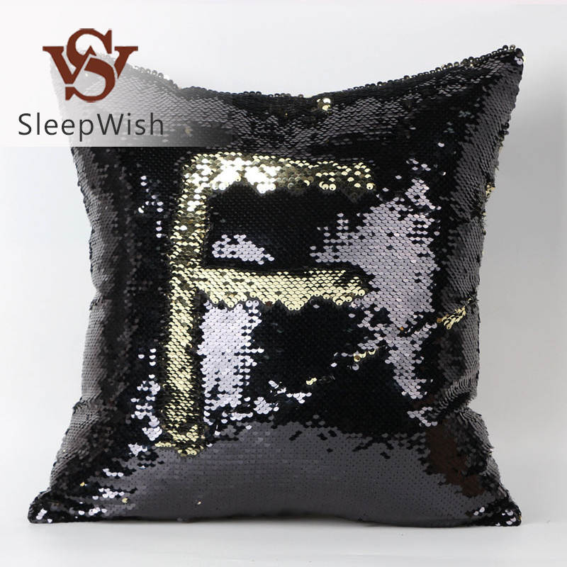 SleepWish Mermaid Sequin Cushion Cover Magical Golden and Black Decorative Pillowcases Stylish 40cmX40cm Bedclothes for Home(China (Mainland))