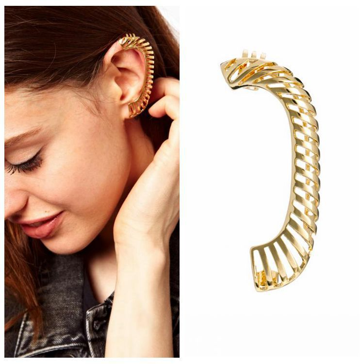 New Style Punk Geometric Simple Metallic Pierced Earrings Ear Clip; Sold by Piece; Gold and Silver; For Women Wholesale(China (Mainland))