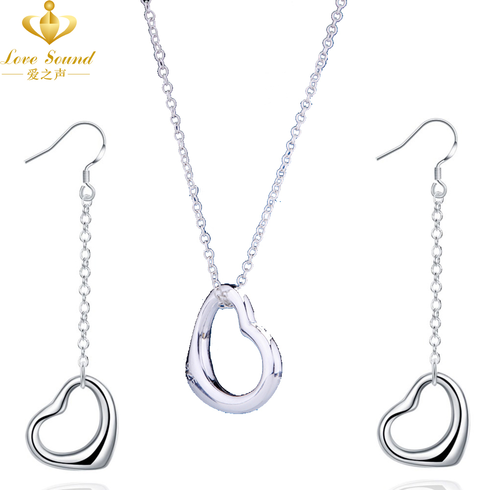 Big Sale Promotion Silver Plated Wedding Jewelry Sets Romantic Love Heart Pendants Necklaces & Drop Earrings Party - LOVE SOUND OfficiaI Store store