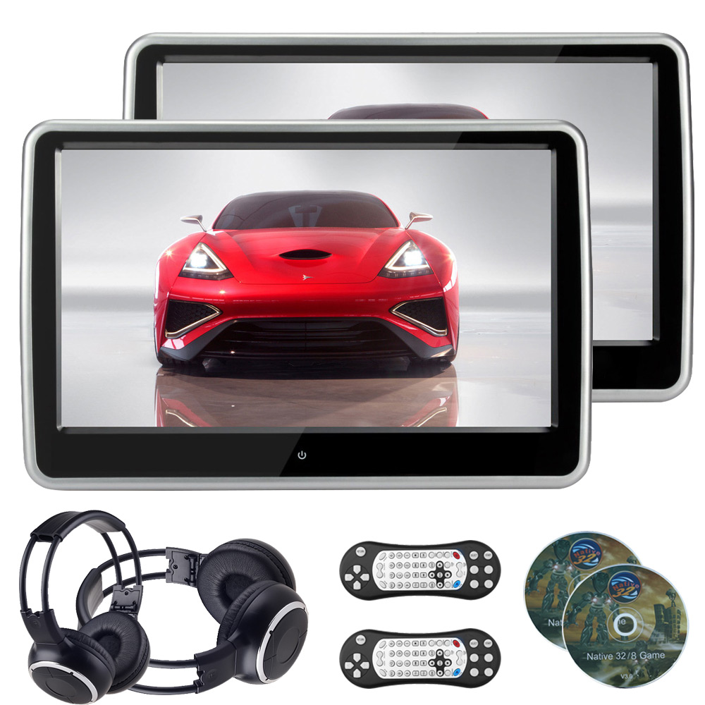 2 PCS 10.1 Inch 1024*600 TFT LCD Resistance Touch Screen Car Headrest Monitor DVD Player USB/SD/IR/FM Headphone Include(China (Mainland))