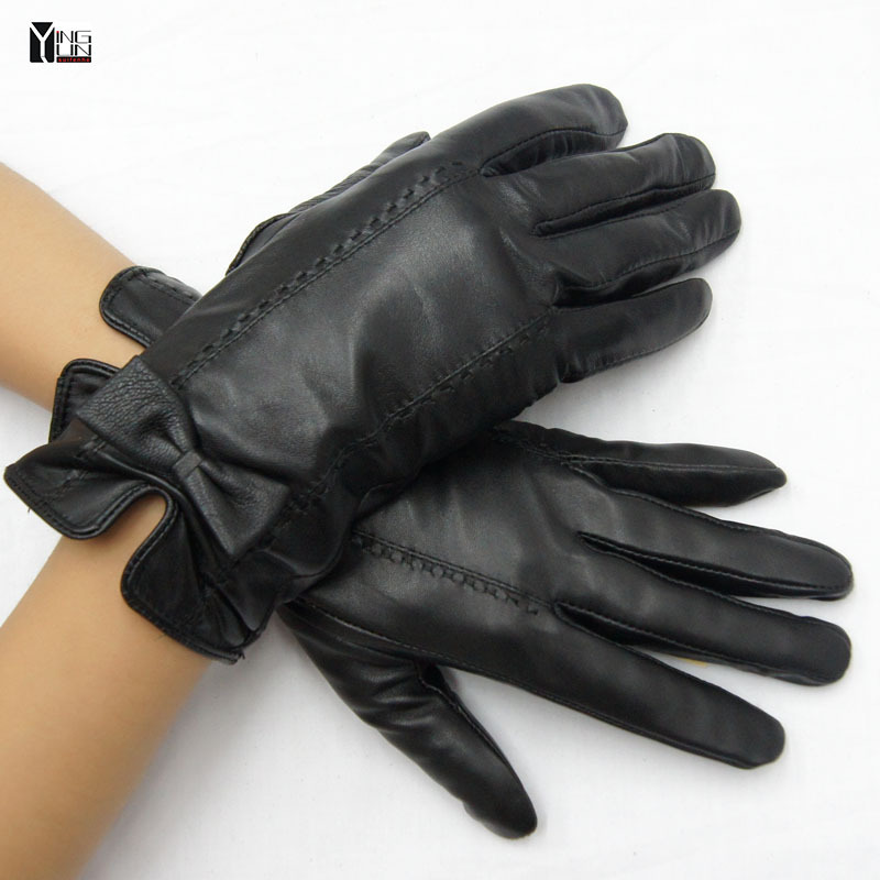 New fashion 2016 winter and autumn sheepskin genuine leather Bownots black gloves ladies glove women mittens FREE shipping(China (Mainland))