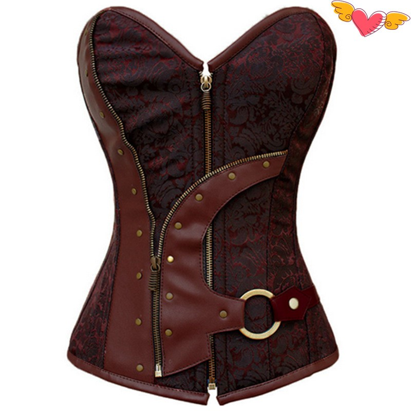 Hot bustiers & corsets corselet Women 2017 Brown Brocade Steampunk Corset Top plus size XXL sexy lingerie