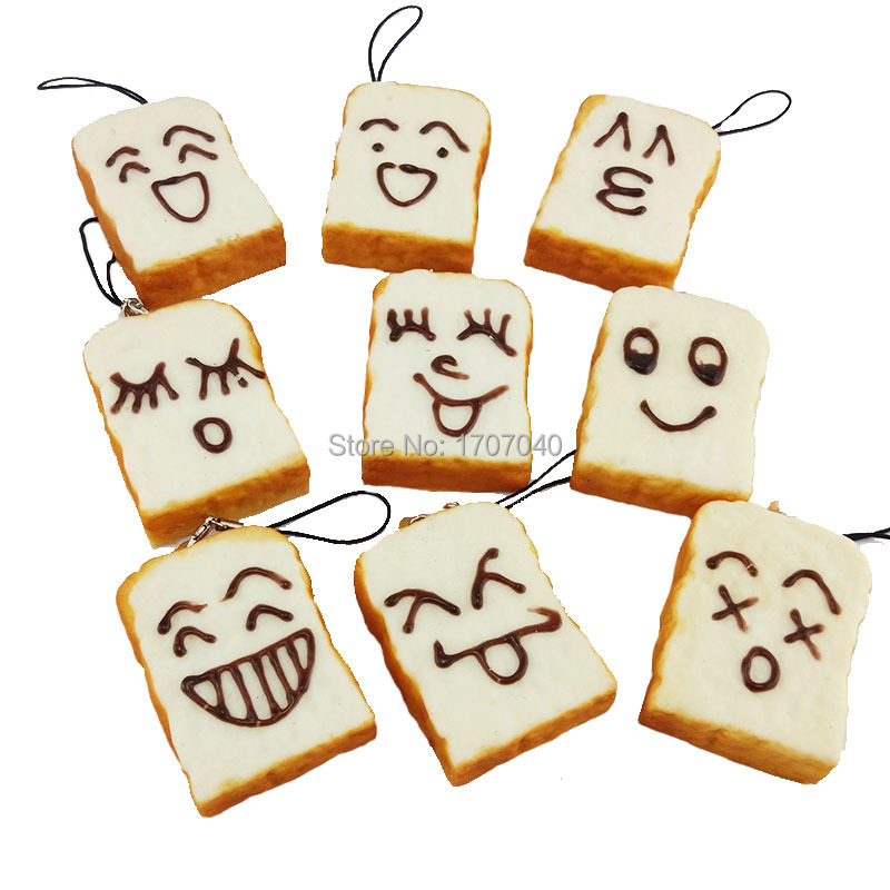 Cute DIY Smile Expression Squishy Rectangle Bread Sliced Toast Cellphone Charm Key/Bag Key Chain Straps(China (Mainland))