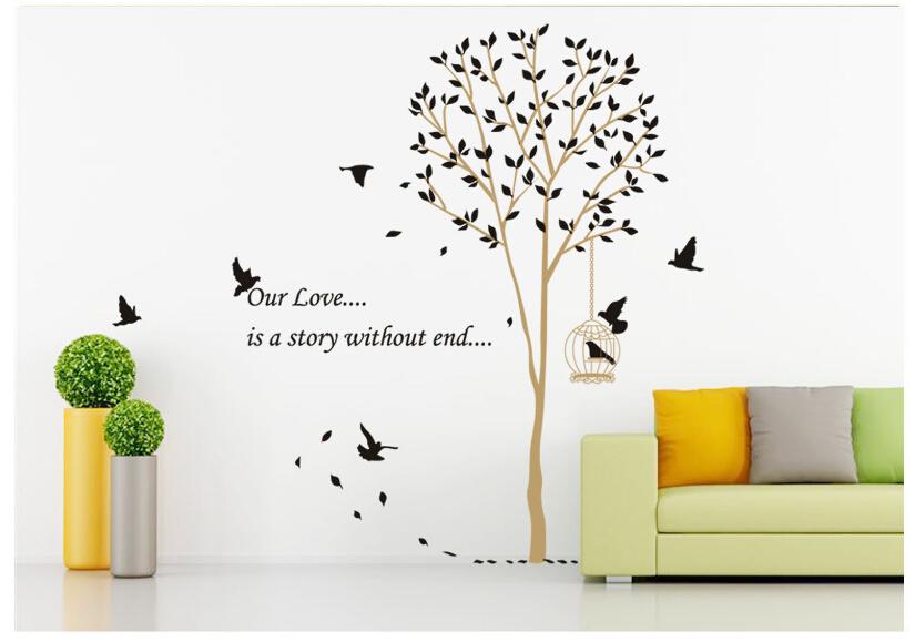Wall Sticker Tree DIY Removable Art Vinyl Wall Stickers Decor Mural Decal Tree Birds Home Decoration Wall Art(China (Mainland))