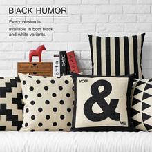 Nordic Geometric black white linen pillow cushion,pillowcase