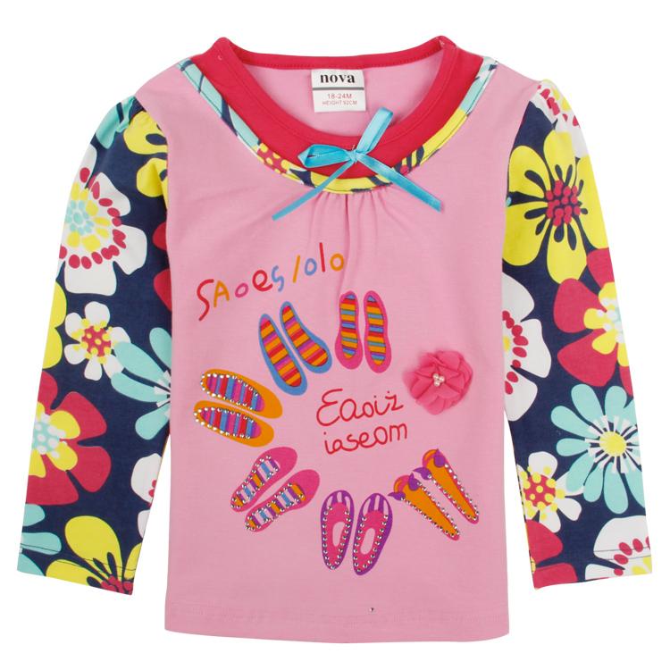 Baby Girls T shirt Cartoon Long Sleeves T shirt Nova Band Boys Girls Cotton Child Top Tee Children's T-Shirts Wholesale F4192(China (Mainland))