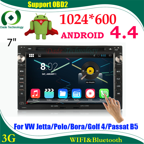 2 din Car DVD GPS radio Navigation Android 4.4 for VW Jetta Polo Bora Golf 4 PASSAT 2din car audio car multimedia HD 1024*600(China (Mainland))