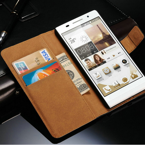 Genuine Leather Case For Huawei Ascend P7 Wallet Style Phone Bag Vintage With Stand 2 Card Holders 1 Bill Site Free Shipping(China (Mainland))