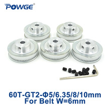 Buy POWGE 5pcs GT2 Timing Pulley 60 Teeth Bore 5mm 6.35mm 8mm 10mm width 6mm GT2 open Timing Belt 2GT pulley Belt 60Teeth 60T for $19.99 in AliExpress store