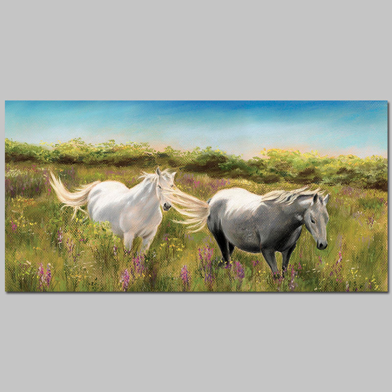 Modern Fashion countryside grassland white horse decoration printed Canvas Painting wall Art living room decor unframed(China (Mainland))