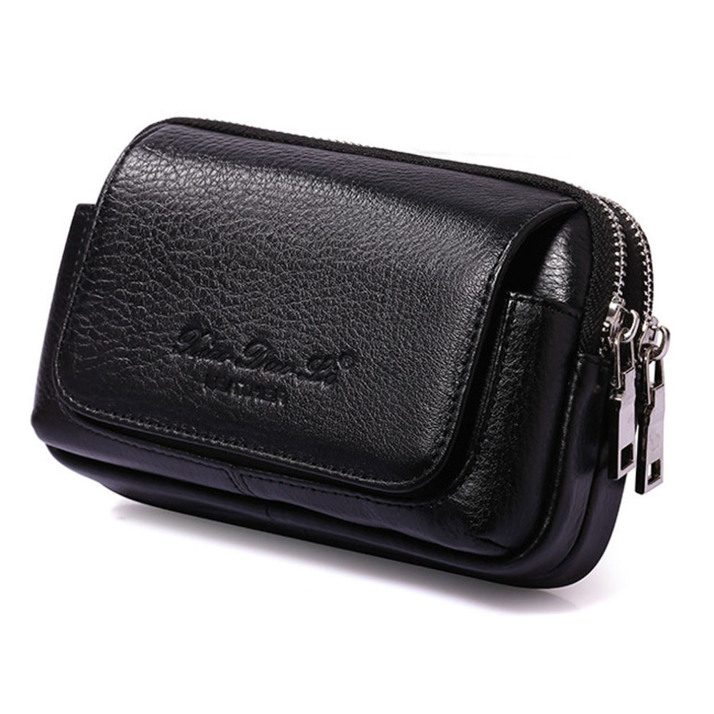Men Cowhide Genuine Leather Military Hiking Cell/Mobile Phone Cover Case skin Hip Belt Bum Purse Fanny Pack Waist Bag Pouch(China (Mainland))