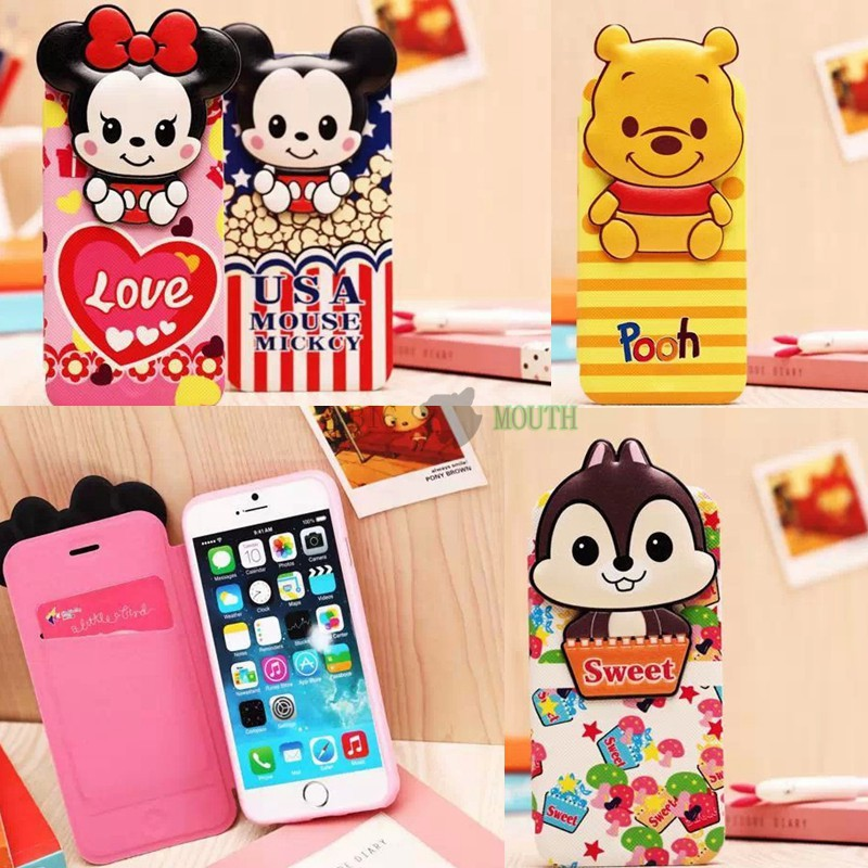 Cartoon leather flip case for iPhone 6 6 plus 5 5S Mickey Minnie Mouse Pooh Bear Chip Dale Mike(China (Mainland))