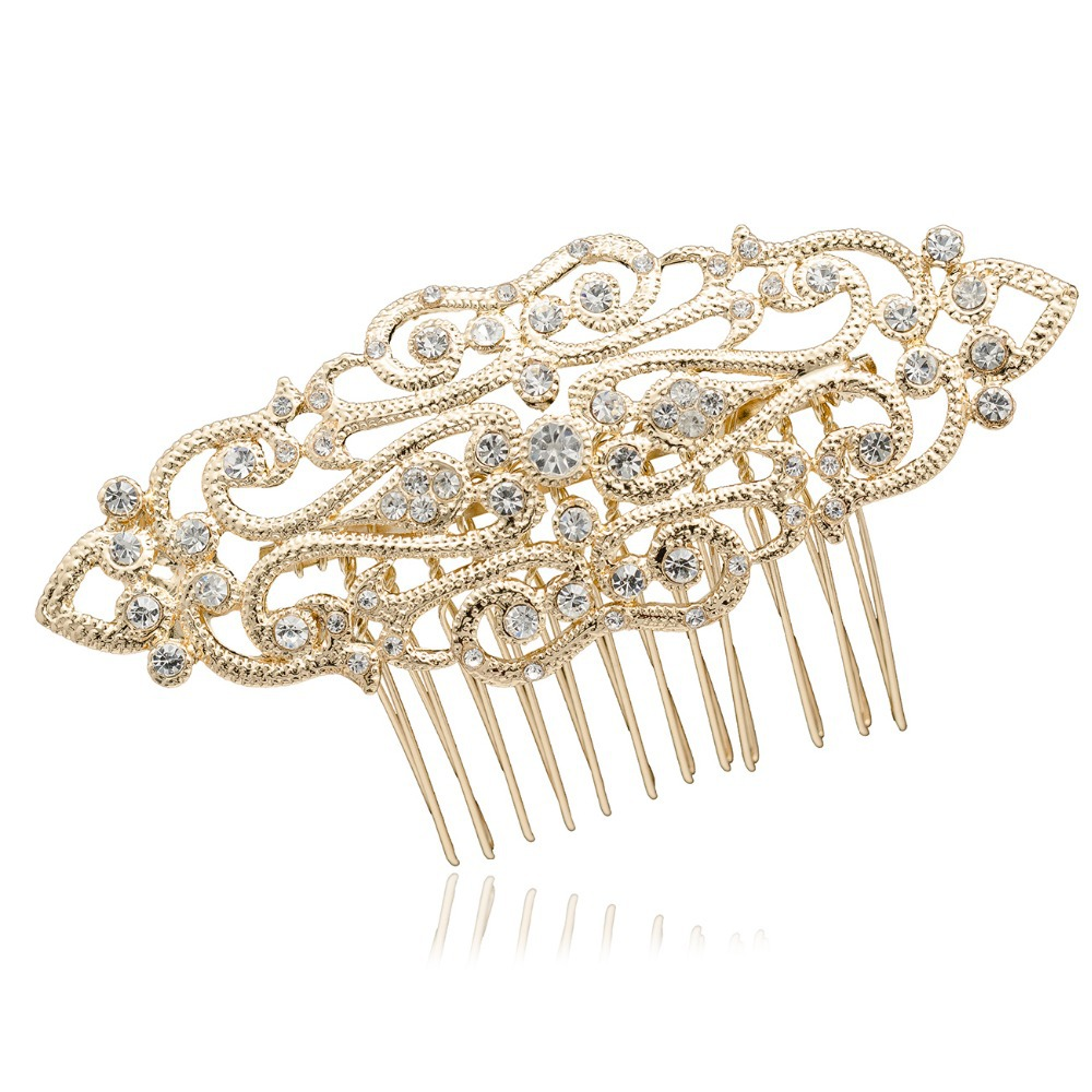 Wedding Hair Pins Accessories 18k Golden Plated Crystals Rhinestone Palace Tiaras Hair Comb for Women Free Shipping XBY083(China (Mainland))