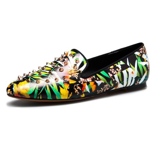 3 Colors Spring/Autumn 2016 womens Printing Leather Shoes ladies Rivets Genuine Leather Mixed Colors sweet flats for women V109<br><br>Aliexpress