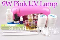 Pro Full Set High Quality UV Gel Nail Kit Pink Color UV Lamp 9W Flase Acrylic Tips Free Decoration  + Freeshipping 426