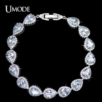 Umode груша чистый ясно цвет цирконий связан ювелирные изделия браслет UB0029