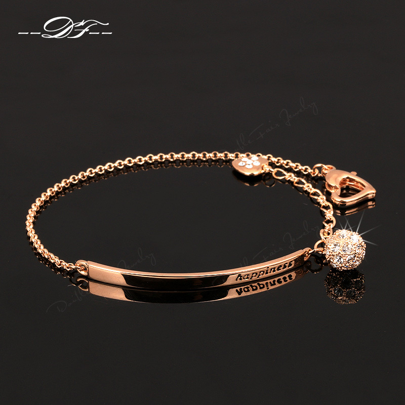 OL Style CZ Diamond Ball Fashion Party Charm Bracelets & Bangles 18K Rose Gold Plated Crystal Jewelry For Women pulseras DFH196(China (Mainland))