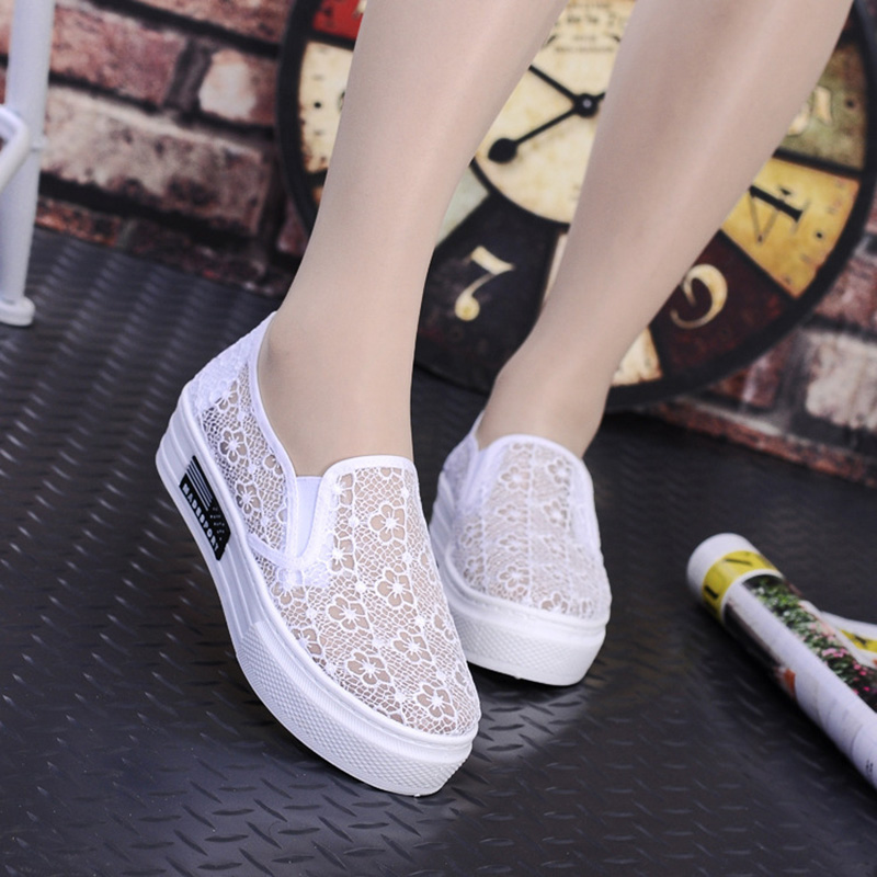 2016 Fashion Summer Latest Design Hollow Out Shoes Women Footwear Comfortable Female Cute Girl Lace Mesh Casual Shoes(China (Mainland))