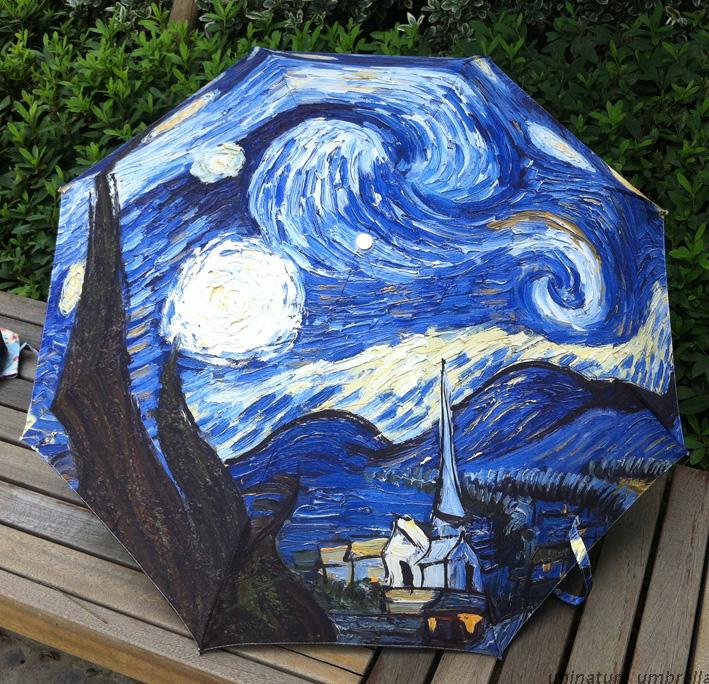 Unit painting umbrella UV sunscreen umbrella Van Gogh painting the sky(China (Mainland))