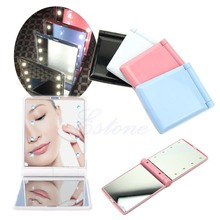 W110 Lady Makeup Mirror 8 LED Lights Lamps Cosmetic Folding Portable Compact Pocket Mirror 4Colors(China (Mainland))