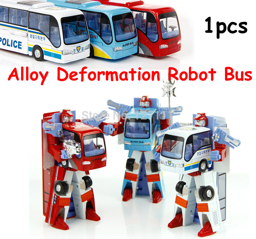 New Style Poly Robocar Robot Transformation Bus Car Toys Alloy Deformation Robot Bus Toys For Kids children 3 color style(China (Mainland))