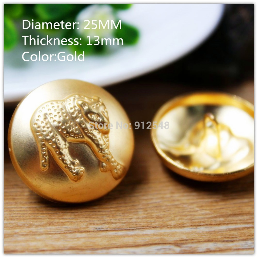 15418178 ,10pcs,25mm Classic fashion Golden Leopard metal buttons,DIY handmade materials, Clothing accessories(China (Mainland))