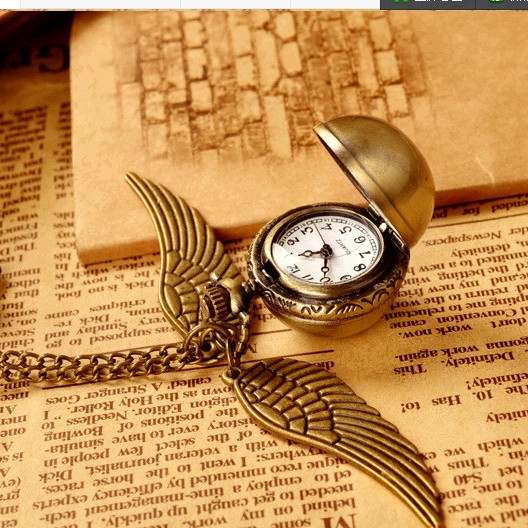 2017 New Vintage Bronze Steampunk Harry potter Golden Snitch ball pocket watch necklace children pendant chain good quality(China (Mainland))